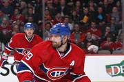 Andrei Markov #79 of the Montreal Canadiens skates against the Boston Bruins in Game Three of the Second Round of the 2014 NHL Stanley Cup Playoffs at the Bell Centre on May 6, 2014 in Montreal, Quebec, Canada.