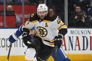 David Krejci #46 of the Boston Bruins skates away from a checking Tomas Plekanec #19 of the Toronto Maple Leafs in Game Four of the Eastern Conference First Round in the 2018 Stanley Cup play-offs at the Air Canada Centre on April 19, 2018 in Toronto, Ontario, Canada. The Bruins defeated the Maple Leafs 3-1.