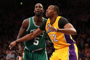 Dwight Howard #12 of the Los Angeles Lakers and Kevin Garnett #5 of the Boston Celtics fight for position in their game at Staples Center on February 20, 2013 in Los Angeles, California.  The Lakers won 113-99. NOTE TO USER: User expressly acknowledges and agrees that, by downloading and or using this photograph, User is consenting to the terms and conditions of the Getty Images License Agreement.