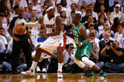 LeBron James #6 of the Miami Heat looks to pass in the first quarter against Mickael Pietrus #28 of the Boston Celtics in Game Five of the Eastern Conference Finals in the 2012 NBA Playoffs on June 5, 2012 at American Airlines Arena in Miami, Florida. NOTE TO USER: User expressly acknowledges and agrees that, by downloading and or using this photograph, User is consenting to the terms and conditions of the Getty Images License Agreement.