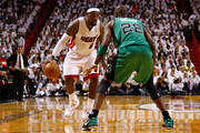 LeBron James #6 of the Miami Heat looks to pass the ball in the second half against Mickael Pietrus #28 of the Boston Celtics in Game One of the Eastern Conference Finals in the 2012 NBA Playoffs on May 28, 2012 at American Airlines Arena in Miami, Florida.  NOTE TO USER: User expressly acknowledges and agrees that, by downloading and or using this photograph, User is consenting to the terms and conditions of the Getty Images License Agreement.