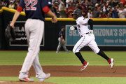 Adam Jones #10 of the Arizona Diamondbacks rounds the bases after hitting a solo home-run against the Boston Red Sox during the fifth inning of the MLB game at Chase Field on April 05, 2019 in Phoenix, Arizona.