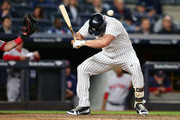 Matt Holliday #17 of the New York Yankees is hit by a pitch in the eighth inning against the Boston Red Sox at Yankee Stadium on June 8, 2017 in the Bronx borough of New York City.
