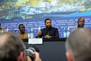 "(L-R) Maxwell Simba, director Chiwetel Ejiofor and William Kamkwamba are seen at the press conference for the Netflix film ""The Boy Who Harnessed The Wind"" during the 69th Berlinale International Film Festival Berlin at Grand Hyatt Hotel on February 12, 2019 in Berlin, Germany."