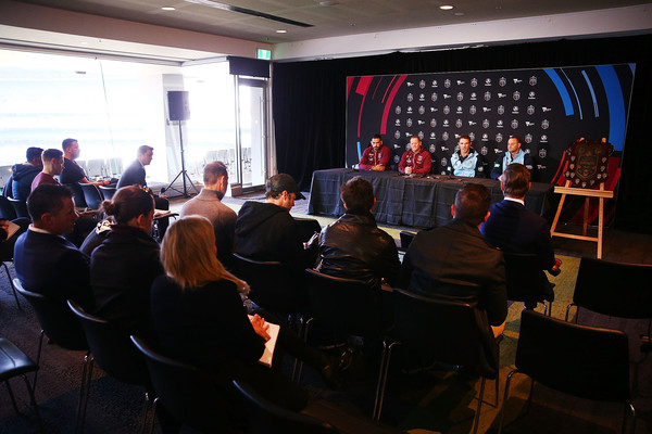 State Of Origin Media Opportunity [audience,event,crowd,convention,community,design,auditorium,stage,academic conference,seminar,greg inglis,kevin walters,brad fittler,boyd cordner,origin media opportunity,media,state,melbourne cricket ground,queensland maroons,new south wales blues]