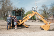 """President of Belmont University Bob Fisher, Brad Paisley and Kimberly Williams-Paisley break ground for grocery site """"The Store"""" on April 03, 2019 in Nashville, Tennessee."""