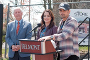 """President of Belmont University Bob Fisher, Kimberly Williams-Paisley and Brad Paisley break ground for grocery site """"The Store"""" on April 03, 2019 in Nashville, Tennessee."""