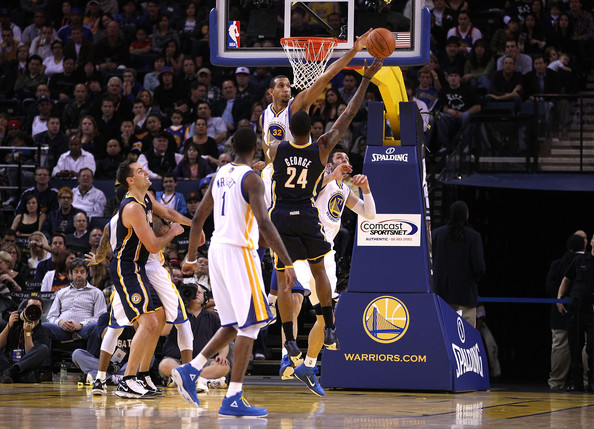 Paul George and Brandan Wright - Indiana Pacers v Golden State Warriors