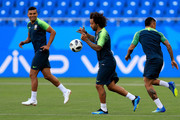 Casemiro, Marcelo and Gabriel Jesus of Brazil during a Brazil training session ahead of the FIFA World Cup 2018 at Rostov Arena on June 16, 2018 in Rostov-on-Don, Russia.