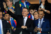 President of Brazil Jair Bolsonaro waves to fans with Cafu during the Copa America Brazil 2019 Semi Final match between Brazil and Argentina at Mineirao Stadium on July 02, 2019 in Belo Horizonte, Brazil.