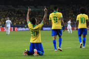 Roberto Firmino of Brazil celebrates after scoring the second goal of his team during the Copa America Brazil 2019 Semi Final match between Brazil and Argentina at Mineirao Stadium on July 02, 2019 in Belo Horizonte, Brazil.