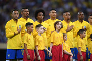 Brazil players line up for their national anthem ahead of the 2018 FIFA World Cup Russia Quarter Final match between Brazil and Belgium at Kazan Arena on July 6, 2018 in Kazan, Russia.