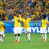 Jo Daniel Alves Photos - (L-R) Thiago Silva, Dani Alves, Jo, Hulk, Willian and Neymar of Brazil celebrate after defeating Chile in a penalty shootout during the 2014 FIFA World Cup Brazil round of 16 match between Brazil and Chile at Estadio Mineirao on June 28, 2014 in Belo Horizonte, Brazil. - Brazil v Chile: Round of 16 - 2014 FIFA World Cup Brazil