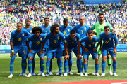 The Brazil players pose for a team photo prior to the 2018 FIFA World Cup Russia group E match between Brazil and Costa Rica at Saint Petersburg Stadium on June 22, 2018 in Saint Petersburg, Russia.
