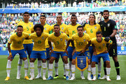 Brazil pose for a  team photo during the 2018 FIFA World Cup Russia Round of 16 match between Brazil and Mexico at Samara Arena on July 2, 2018 in Samara, Russia.