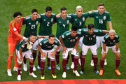 Mexico pose for a team photo during the 2018 FIFA World Cup Russia Round of 16 match between Brazil and Mexico at Samara Arena on July 2, 2018 in Samara, Russia.