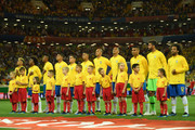 Brazil team line up for national anthem prior to the 2018 FIFA World Cup Russia group E match between Brazil and Switzerland at Rostov Arena on June 17, 2018 in Rostov-on-Don, Russia.