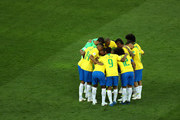 Brazil team in a huddle prior to the 2018 FIFA World Cup Russia group E match between Brazil and Switzerland at Rostov Arena on June 17, 2018 in Rostov-on-Don, Russia.