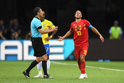 Referee Milorad Mazic speaks with Eden Hazard of Belgium  during the 2018 FIFA World Cup Russia Quarter Final match between Brazil and Belgium at Kazan Arena on July 6, 2018 in Kazan, Russia.