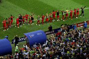 Belgium players celebrate with their fans following their sides victory in the 2018 FIFA World Cup Russia Quarter Final match between Brazil and Belgium at Kazan Arena on July 6, 2018 in Kazan, Russia.