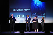 Cardinal Timothy Dolan, producer DeVon Franklin, actress Chrissy Metz and director Roxann Dawson speak onstage during a special New York screening of 'Breakthrough' at The Sheen Center on March 11, 2019 in New York City.