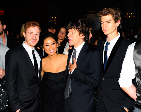 "Brenda Song (L-R) Joseph Mazzello, Brenda Song, Jesse Eisenberg and Andrew Garfield attend the after party for the premiere of ""The Social Network"" during the 48th New York Film Festival at The Harvard Club on September 24, 2010 in New York City."