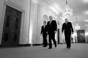 Image has been converted to black and white)  (L-R) U.S. Supreme Court Justice Brett Kavanaugh, President Donald Trump and retired Justice Anthony Kennedy walk into the East Room of the White House for Kavanaugh's ceremonial swearing in October 08, 2018 in Washington, DC. Kavanaugh was confirmed in the Senate 50-48 after a contentious process that included several women accusing Kavanaugh of sexual assault. Kavanaugh has denied the allegations.