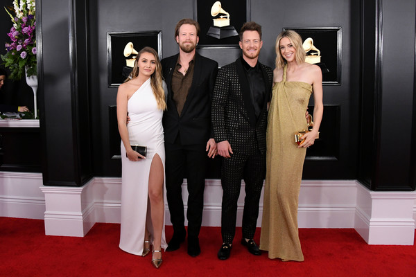 61st Annual Grammy Awards - Arrivals [red carpet,carpet,flooring,fashion,event,dress,formal wear,premiere,suit,haute couture,arrivals,brittney marie cole,tyler hubbard,hayley stommel hubbard,brian kelley,grammy awards,l-r,california,florida georgia line,annual grammy awards]