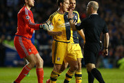 Scott Parker of Fulham is held back by team-mate goal keeper Marcus Bettinelli as he exchanges words with referee Andy Woolmer after he awards a penalty to Brighton during the Sky Bet Championship match between Brighton & Hove Albion and Fulham at The Amex Stadium on April 15, 2016 in Brighton, England.