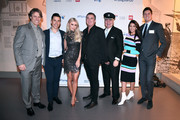 (L-R) John Bishop, Russell Kane, Una Healy, Shane Richie, Eamonn Holmes, Michelle Keegan and Vernon Kay attend British Airways champagne reception to celebrate the airline raising £20 million for Comic Relief, through it's charity Flying Start, at the Science Museum on November 15, 2018 in London, England.