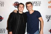 Director Jack Heller (L) and actor Kenny Wormald attend the LA premiere party for 'Dark Was The Night' hosted by British Knights at Lucky Strike Bowling Alley on October 16, 2014 in Hollywood, California.