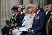 (L-R) Philip May, British Prime Minister Theresa May, Camilla, Duchess of Cornwall and Prince Charles, Prince of Wales attend the Royal British Legion Service of Remembrance at Bayeux Cathedral, as part of commemorations for the 75th anniversary of the D-Day landings on June 6, 2019 in Bayeux, France. Veterans, families, visitors, political leaders and military personnel are gathering in Normandy to commemorate D-Day, which heralded the Allied advance towards Germany and victory about 11 months later.