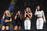 Perrie Edwards; Jesy Nelson; Jade Thirlwall and Leigh-Anne Pinnock of Little Mix performs on stage at British Summer Time Festival at Hyde Park on July 13, 2014 in London, United Kingdom.