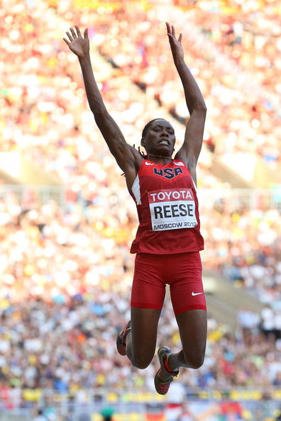 Brittney Reese Brittney Reese of the United States reacts as she ...