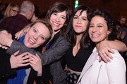 (L-R)  Actress Kate McKinnon, actresss/musician Carrie Brownstein, actress/writer Abbi Jacobson, and actress/writer Ilana Glazer attend The Broad City Season 2 Premiere Party at 26 Bridge Street on January 7, 2015 in New York City.
