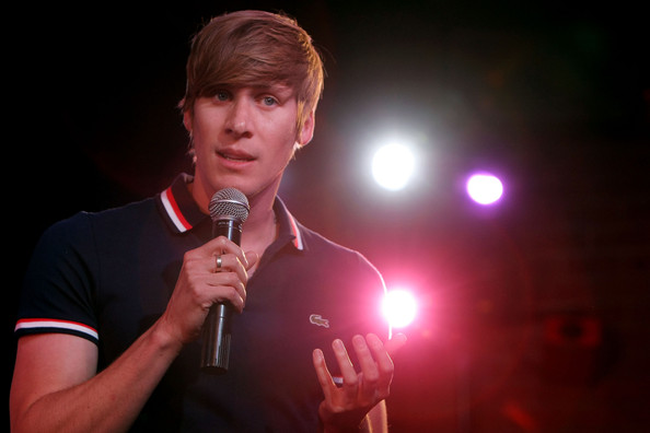 """Oscar-winning screenwriter  Dustin Lance Black speaks during the Broadway cast of """"Hair""""  Be-In news conference to promote marriage equality on July 13, 2009 in  Los Angeles, California."""