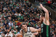 Tyler Zeller #44 of the Brooklyn Nets handles the ball against the Boston Celtics on December 31, 2017 at TD Garden in Boston, Massachusetts.  NOTE TO USER: User expressly acknowledges and agrees that, by downloading and or using this photograph, User is consenting to the terms and conditions of the Getty Images License Agreement. Mandatory Copyright Notice: Copyright 2017 NBAE