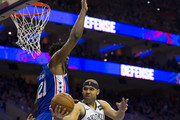 Jared Dudley #6 of the Brooklyn Nets passes the ball against Joel Embiid #21 of the Philadelphia 76ers in the first quarter of Game Five of Round One of the 2019 NBA Playoffs at the Wells Fargo Center on April 23, 2019 in Philadelphia, Pennsylvania. NOTE TO USER: User expressly acknowledges and agrees that, by downloading and or using this photograph, User is consenting to the terms and conditions of the Getty Images License Agreement.