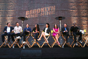 (L-R) Executive producers David Miner, Dan Goor, actors Andy Samburg, Melissa Fumero, Stephanie Beatriz, Chelsea Peretti, Joe Lo Truglio and Terry Crews attend the 'Brooklyn Nine-Nine' steak-out block party and special screening event held at the Universal Studios Backlot on May 22, 2014 in Universal City, California.