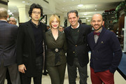 (L-R) Geoffrey Arend, Christina Hendricks, Arthur Wayne and Fisher Pence attend an evening hosted by Brooks Brothers to celebrate the holidays with St. Jude Children's Research Hospital at Brooks Brothers on December 13, 2016 in New York City.