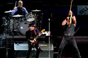 (L-R) Musicians Max Weinberg, Nils Lofgren and Bruce Springsteen of Bruce Springsteen and the E Street Band perform at the Los Angeles Sports Arena on March 15, 2016 in Los Angeles, California.