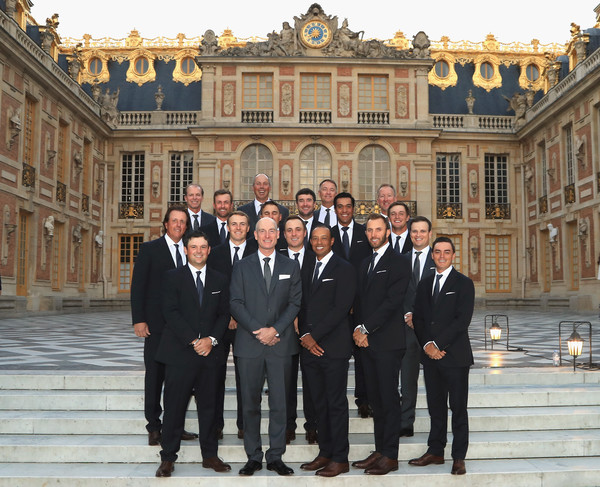2018 Ryder Cup - Gala Dinner [social group,palace,team,suit,formal wear,event,architecture,building,tourism,tuxedo,players,dinner,steps,team usa,palace of versailles,versailles,france,ryder cup,ryder cup gala]