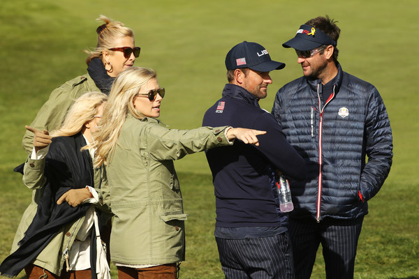 2018 Ryder Cup - Morning Fourball Matches [eyewear,sunglasses,recreation,gesture,united states,le golf national,paris,fourball matches,ryder cup,morning fourball matches,angie watson,dowd simpson,bubba watson,webb simpson]