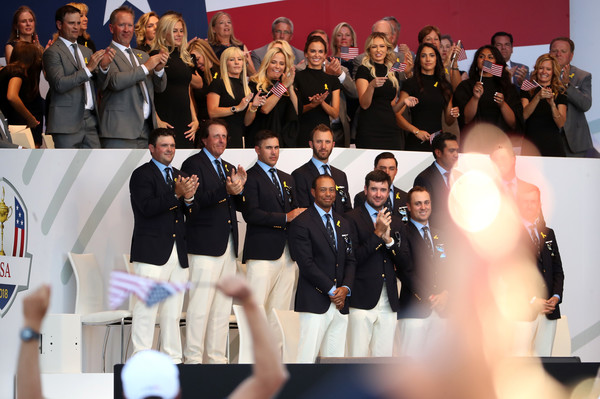 2018 Ryder Cup - Opening Ceremony [event,youth,team,competition,crowd,performance,audience,ceremony,members,patrick reed,tony finau,back l-r,front l-r,states,team,ryder cup,ceremony,opening ceremony]