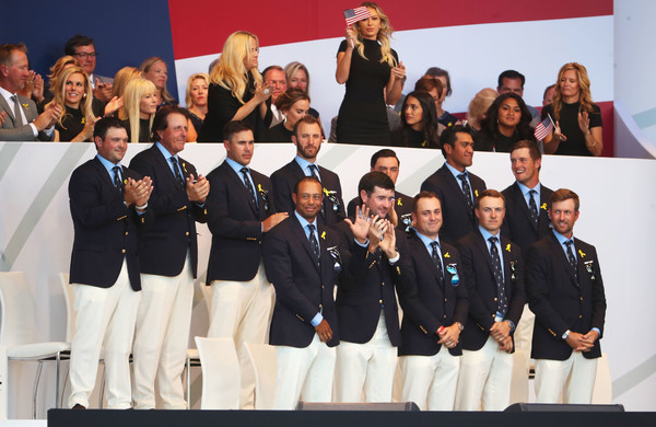 2018 Ryder Cup - Opening Ceremony [team,event,uniform,competition,crew,members,patrick reed,tony finau,back l-r,front l-r,states,team,ryder cup,ceremony,opening ceremony]