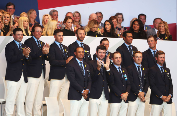 2018 Ryder Cup - Opening Ceremony [team,social group,event,competition,crew,members,patrick reed,tony finau,back l-r,front l-r,states,team,ryder cup,ceremony,opening ceremony]