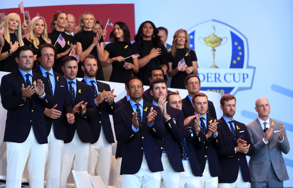 2018 Ryder Cup - Opening Ceremony [team,event,youth,championship,competition event,competition,uniform,crew,ceremony,members,jim furyk,phil mickelson,patrick reed,back l-r,states,team,ryder cup,ceremony,opening ceremony]