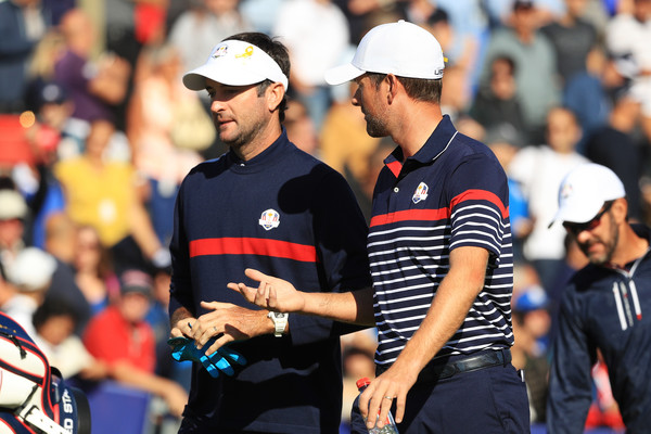 Previews - 42nd Ryder Cup 2018 [product,sports,championship,player,competition event,coach,recreation,team sport,ball game,gesture,bubba watson,webb simpson,ryder cup,practce,united states,paris,france,le golf national]