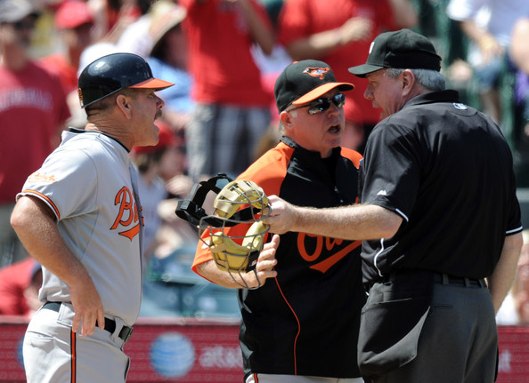 Buck Showalter and Gary Allenson - Baltimore Orioles v Los Angeles Angels of Anaheim