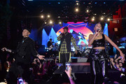 (L-R) Taboo, Will.I.Am, Jessica Reynoso of the Black Eyed Peas perform onstage at Night Two of BUDX Miami by Budweiser on February 01, 2020 in Miami Beach, Florida.